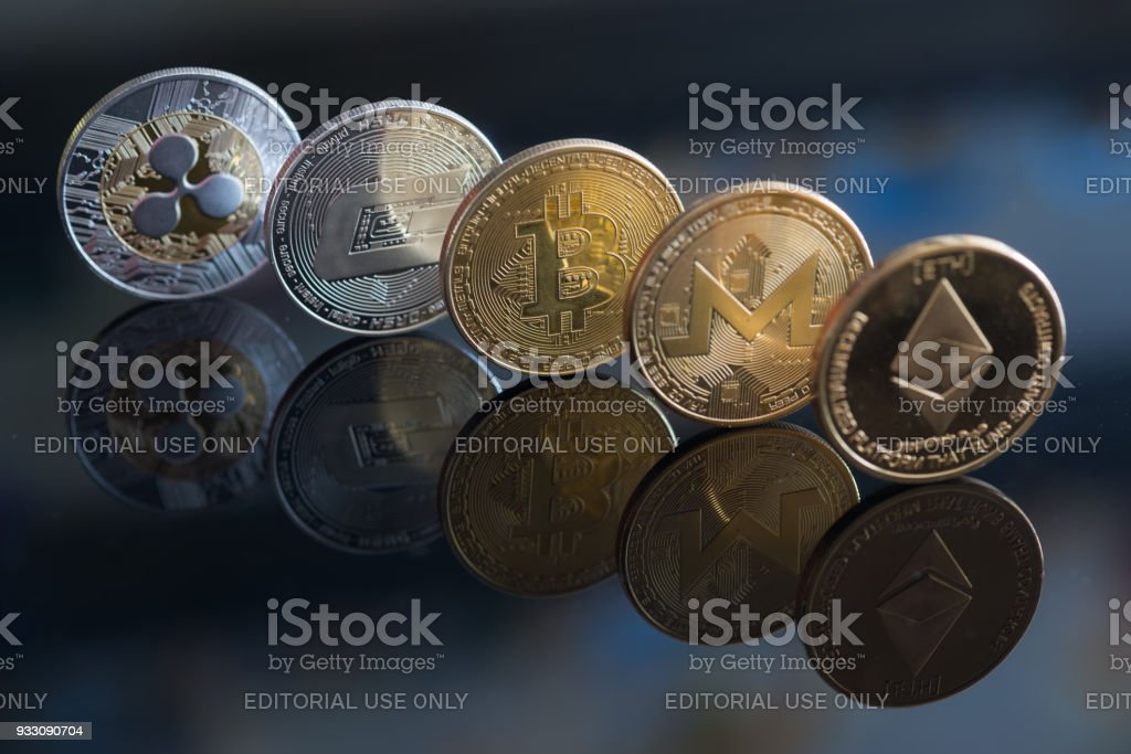 Ripple, Dash coin, Bitcoin, Monero and Ethereum stock photo