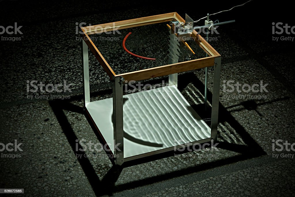 Ripple Tank Experiment Concave Reflection stock photo