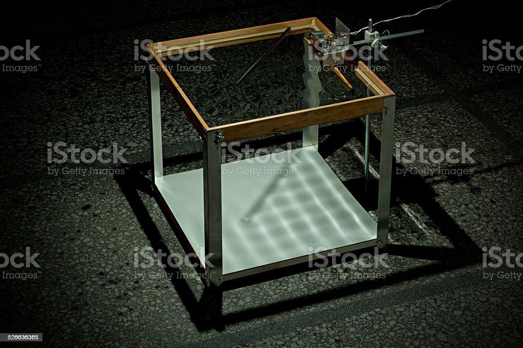 Ripple Tank Experiment reflection 45 stock photo