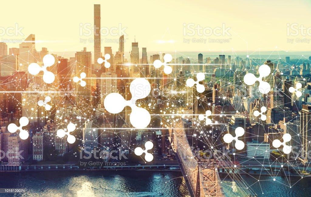 Ripple with the New York City skyline Ripple with the New York City skyline near Midtown Aerial View Stock Photo
