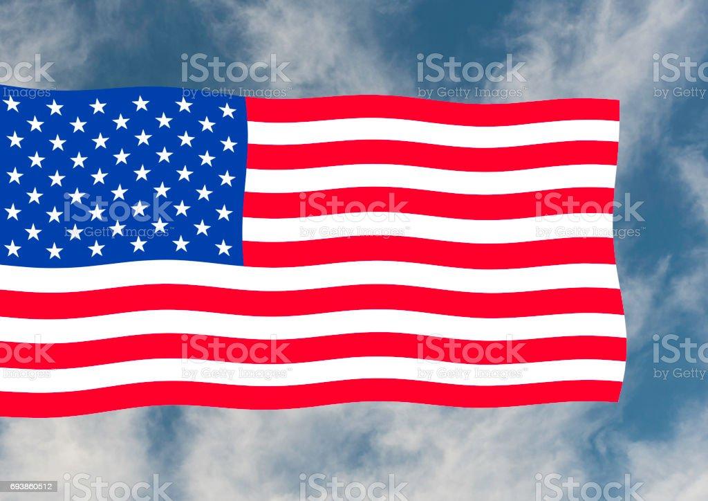 Wellige amerikanische Flagge in Farbe – Foto