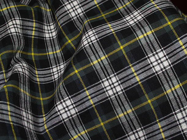 Rippled Green Tartan Tartan Green Rippled Cloth with flat space plaid stock pictures, royalty-free photos & images