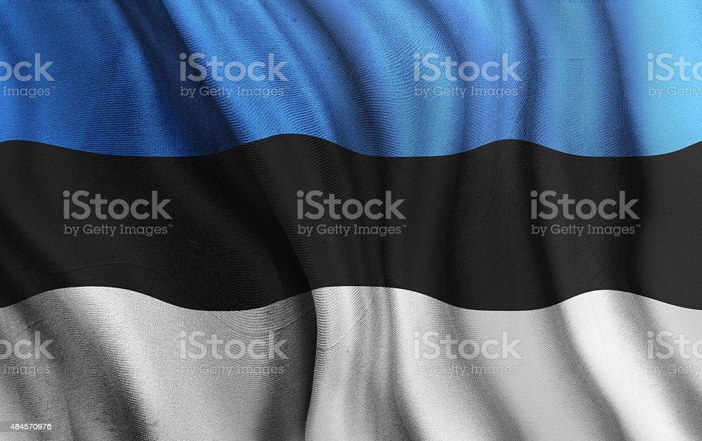 Rippled National Flag of Estonia stock photo