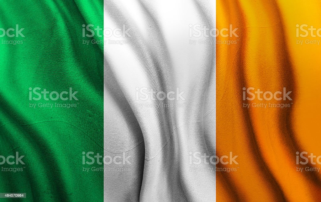 Rippled National Flag of Ireland stock photo