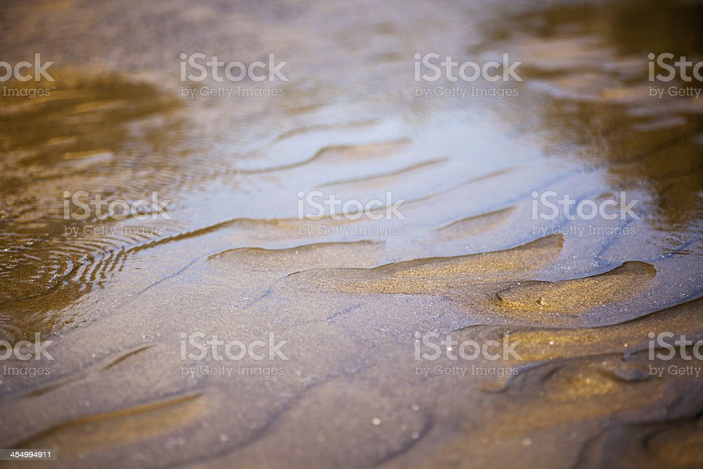Ripples and water on the beach stock photo