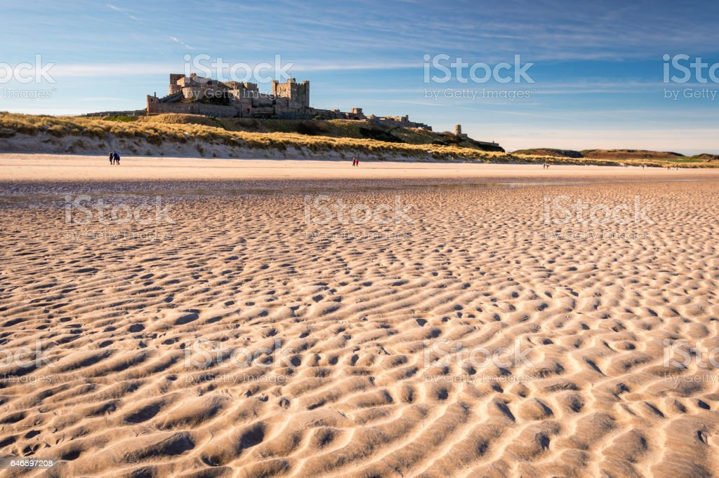 Ripples in sand on Bamburgh Beach stock photo
