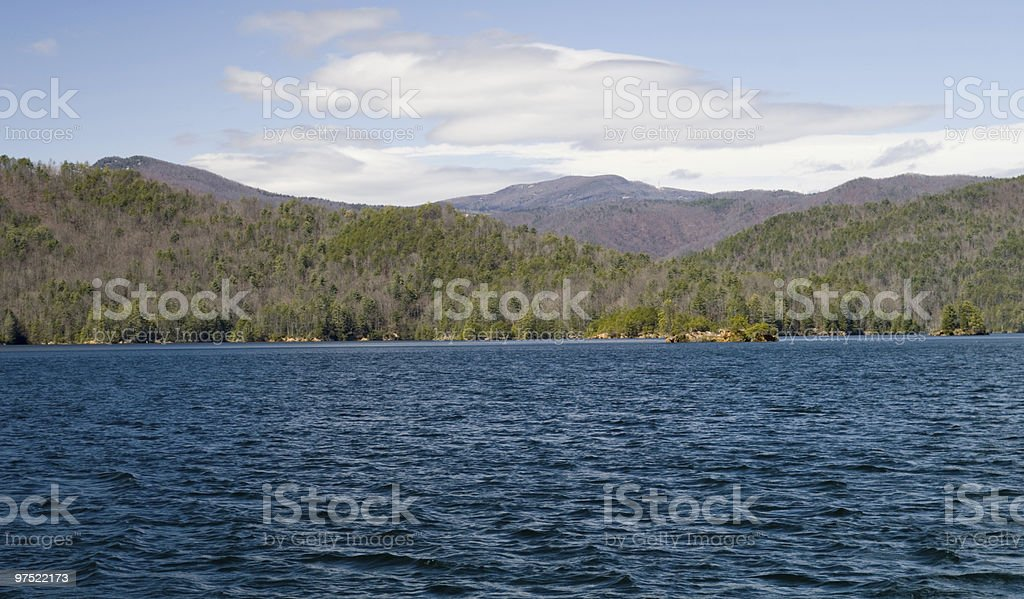 Ripples on the mountain lake royalty-free stock photo