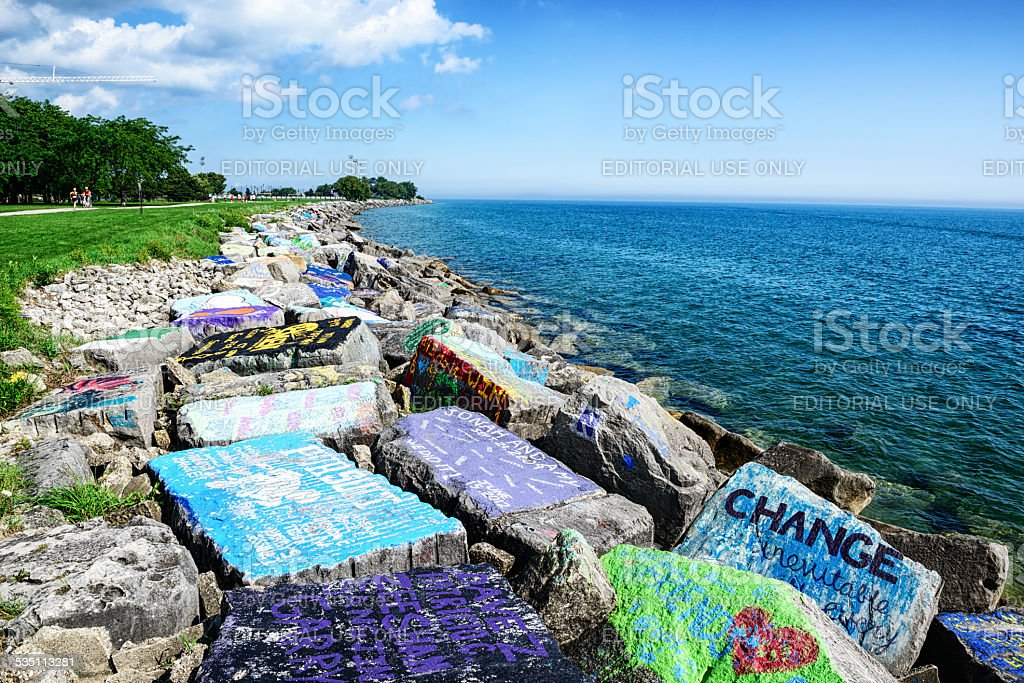 Riprap with graffiti, Lake Michigan, near Chicago stock photo