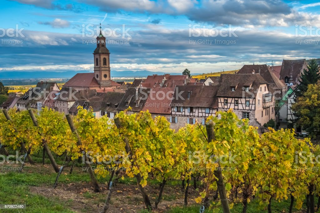 Riquewihr (Reichenweier) a wine-making village in the Haut-Rhin department, Alsace, France. stock photo