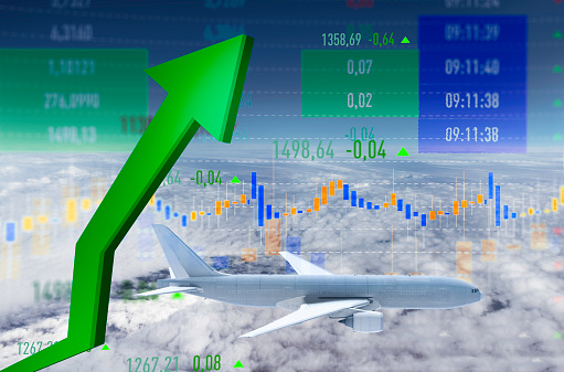 istock Rise of Airline Shares in the Stock Market 1215350441