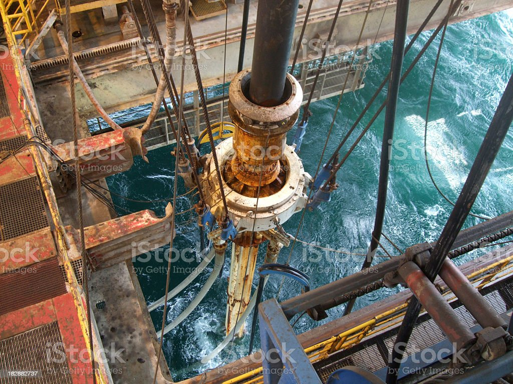 Riser and Slip joint on a semi submersible oil rig stock photo