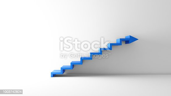 istock Rising arrow graph on staircase isolated on white background in empty room. Business concept. 3d illustration. 1003742824