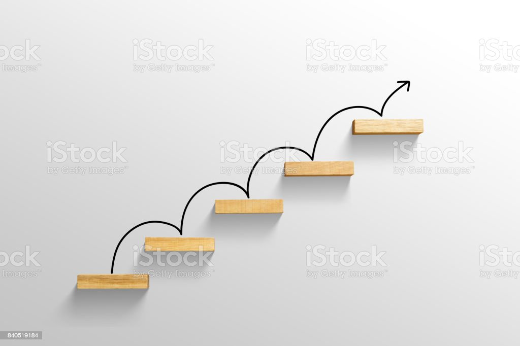 rising arrow on staircase, increasing business - foto stock
