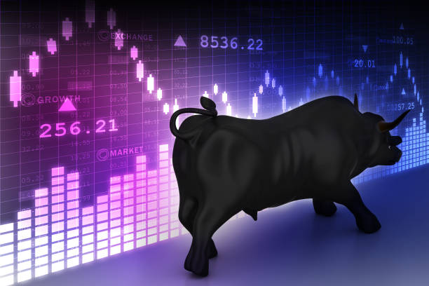 Rising black business bull in color background Rising black business bull in color background bull market stock pictures, royalty-free photos & images