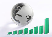 """""""rising chart graph predicts global worldwide growth with a globe ( Europe map ) as symbol of success and financial, businessBusiness Concept"""""""