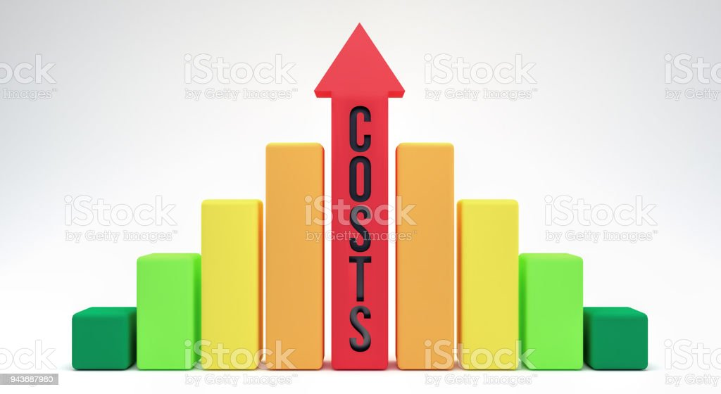 Rising costs concept 3d render stock photo