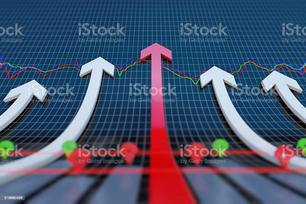 Rising economic arrow stock photo