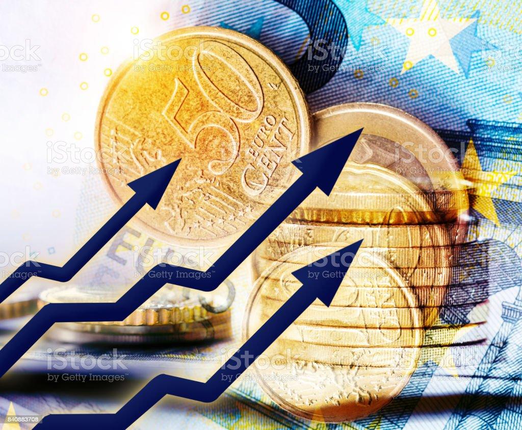 rising euro concept stock photo