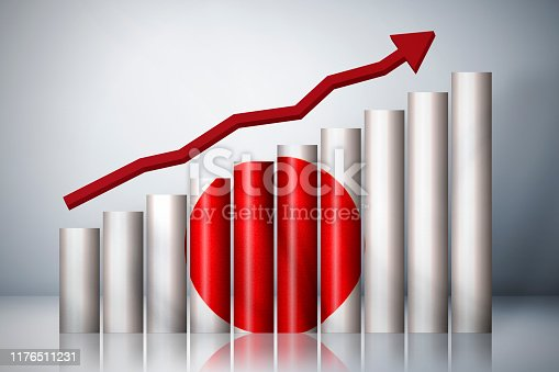 Rising graph about Japan Stock Photo