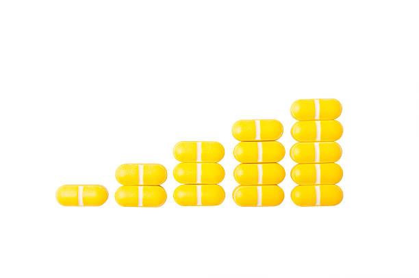 Rising graph of pills stock photo