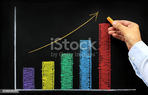 istock Rising graph with colorful chalk on blackboard 508958002