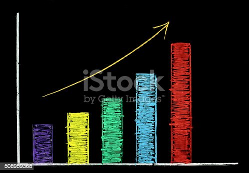 istock Rising graph with colorful chalk on blackboard 508959368