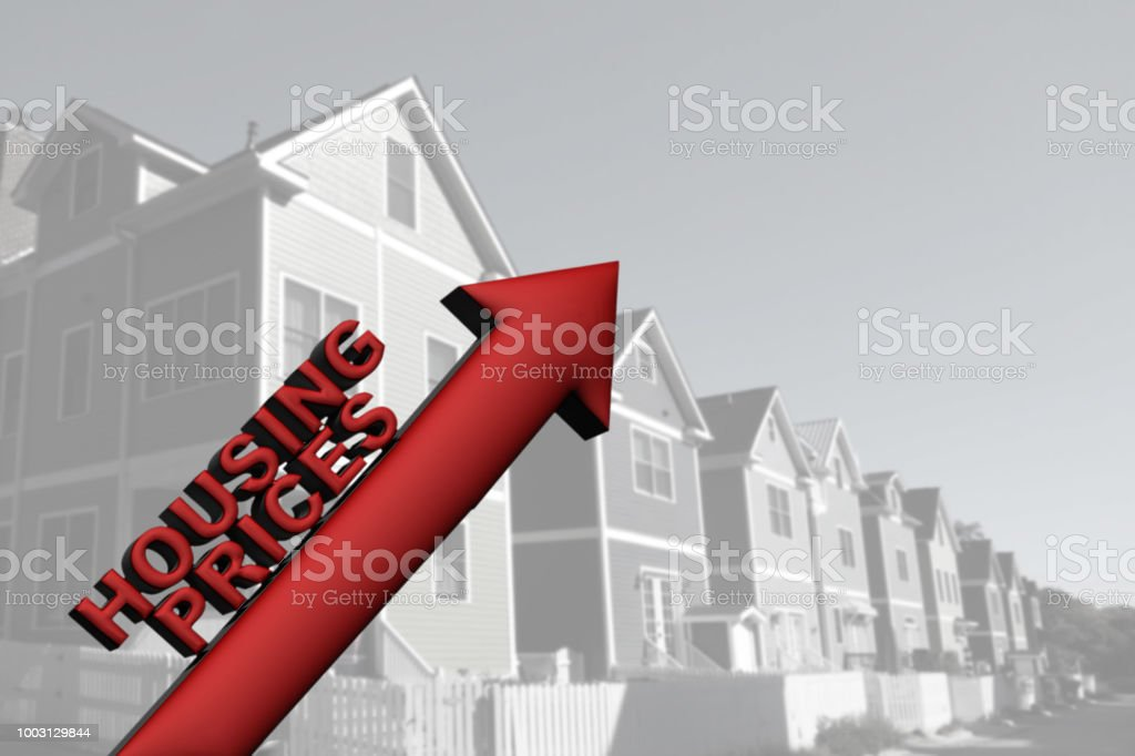Rising home prices stock photo
