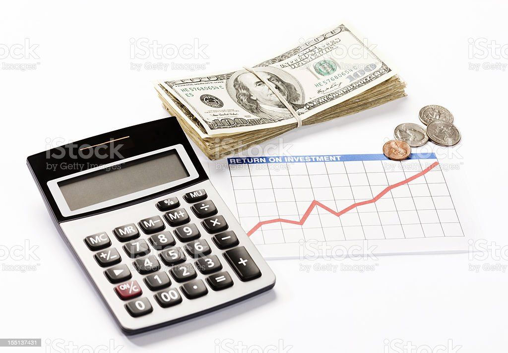 Rising investment graph, money and calculator: good financial news royalty-free stock photo