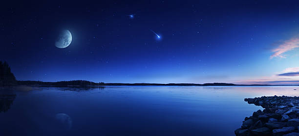 Rising moon over lake  north star stock pictures, royalty-free photos & images