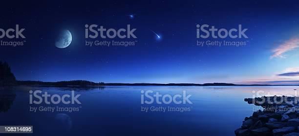 Photo of Rising moon over lake