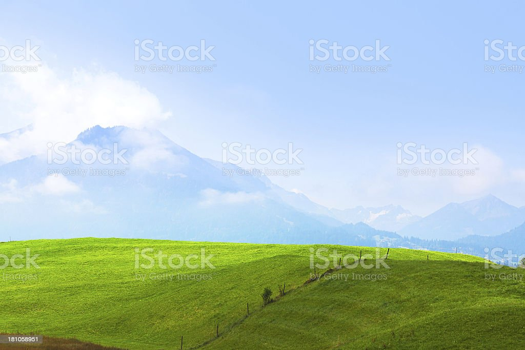 Rising morning over meadows royalty-free stock photo
