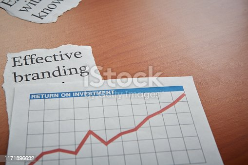 An optimistically rising graph labeled 'return on investment' lies on a desk with a printout reading