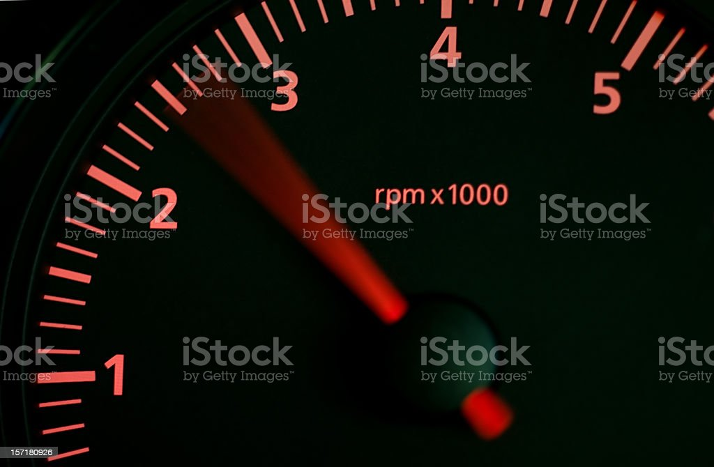 Rising Revs on Car Dashboard stock photo