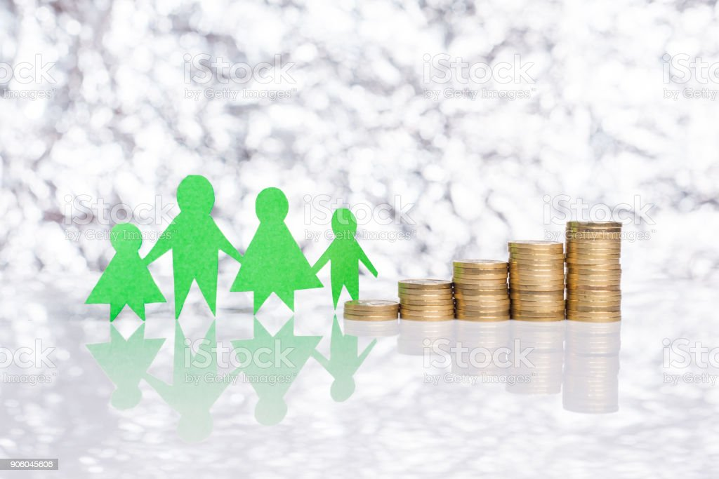 Rising social benefits for families. stock photo
