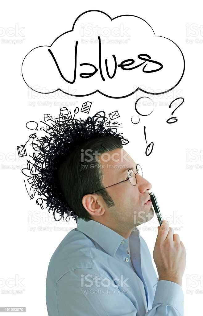 Rising Values Idea and Crazy Businessman stock photo