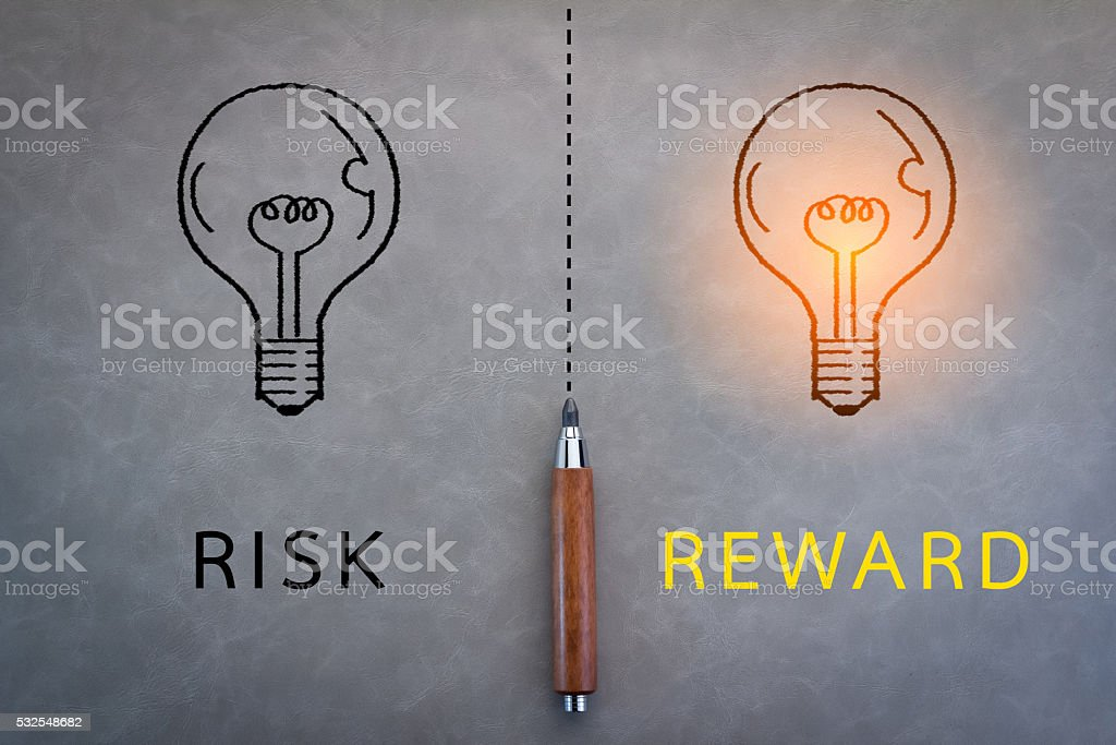 risk and reward word stock photo