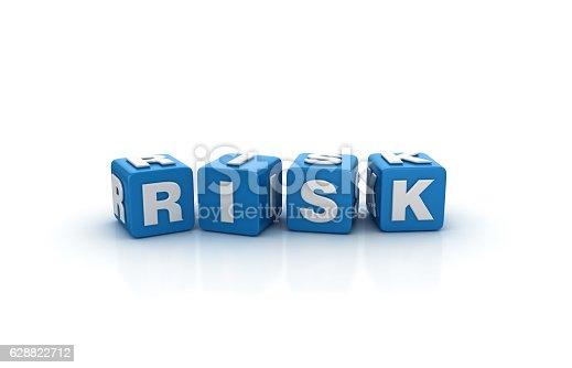 istock Risk Buzzword Cubes - 3D Rendering 628822712