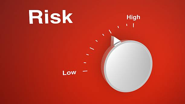 Risk control knob on red stock photo