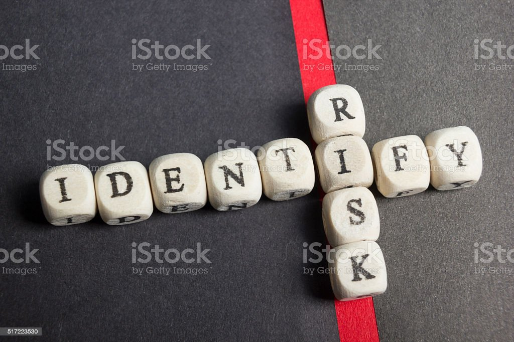 Risk indentify crossword blocks on table. Top view stock photo