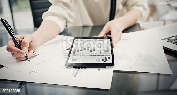 istock Risk investment manager working process.Closeup photo business woman showing 522152288