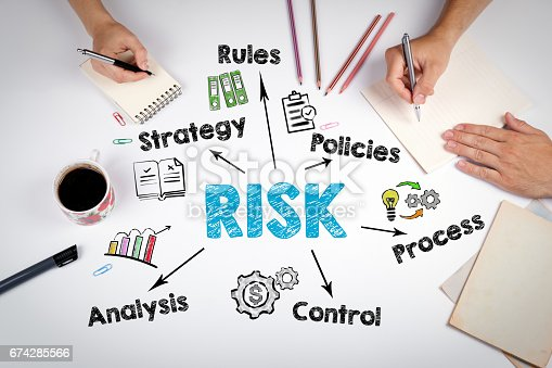 istock Risk management concept. The meeting at the white office table 674285566
