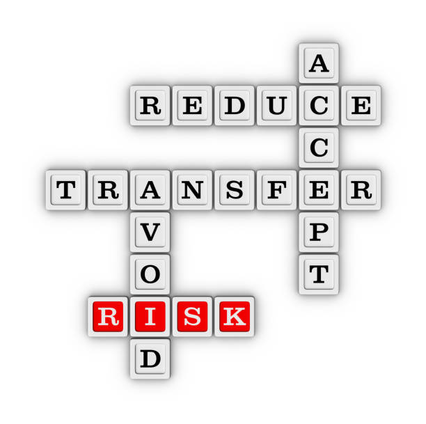 Risk Management Strategies - Accept, Avoid, Reduce and Transfer stock photo