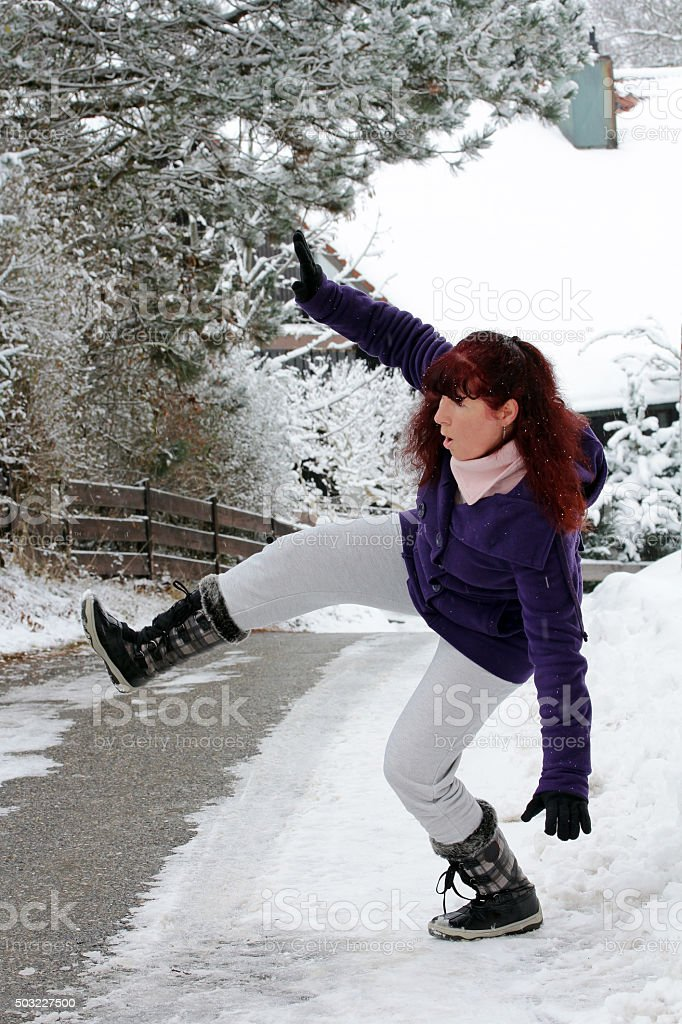Risk of accidents in winter stock photo
