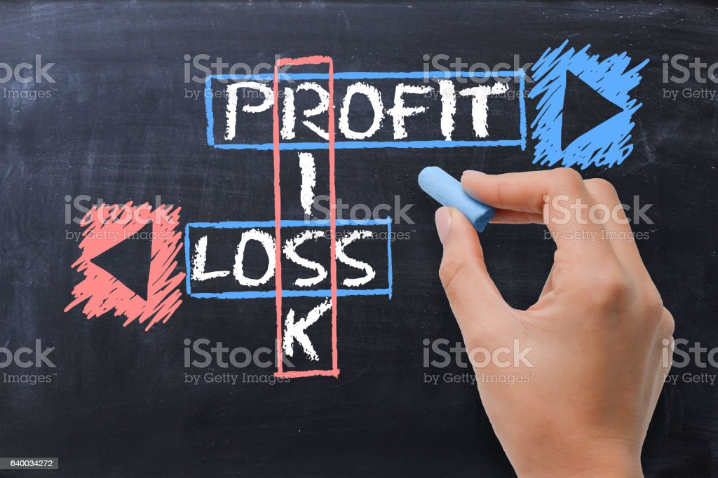 Risk, profit and loss crossword on blackboard stock photo