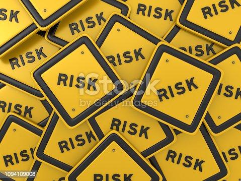 istock Risk Road Sign - 3D Rendering 1094109008