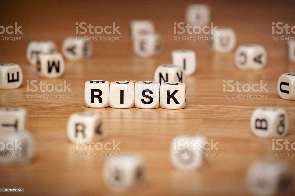 Risk Spelled in Letter Cubes royalty-free stock photo