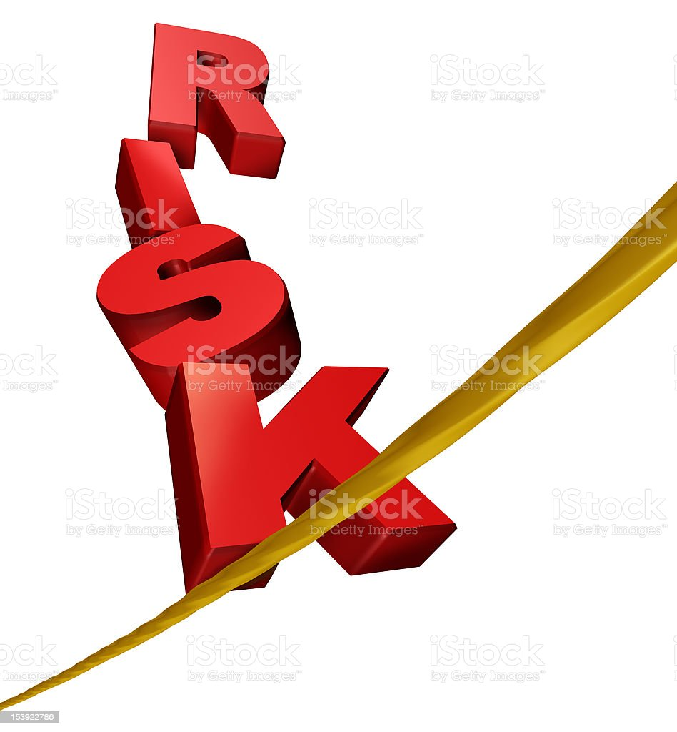 Risk symbol on a tightrope royalty-free stock photo