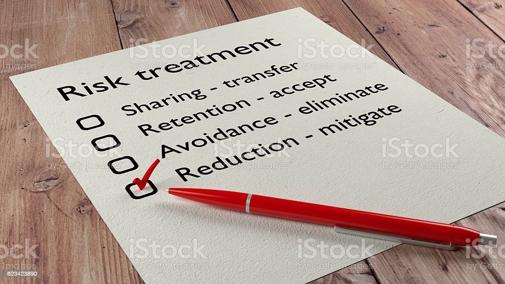 Risk treatment checklist ballpen and tick marks stock photo