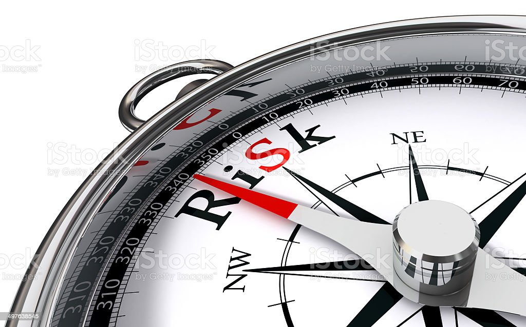 risk word on compass stock photo