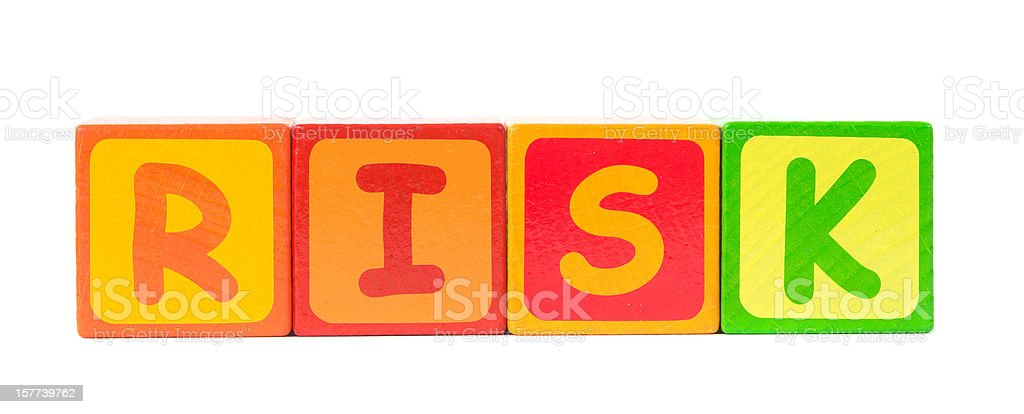 risk word on white background stock photo